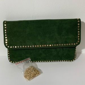 3am forever green studded soft suede clutch